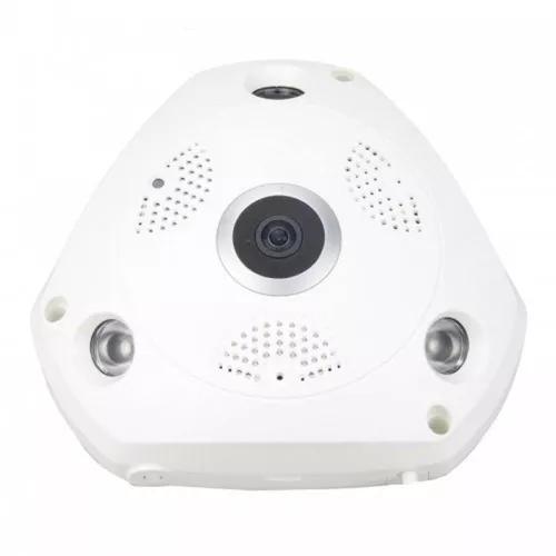 Câmera ip segurança hd 360 wifi lente olho de peixe 1,3 mp