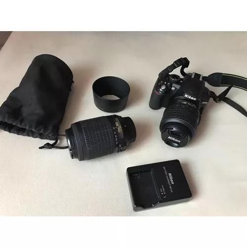 Câmera nikon d3100 4500 clics 2 lentes carreg bolsa brinde