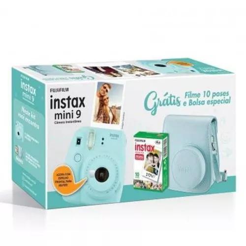 Kit com câmera instax mini9 instantânea fuji + filme e