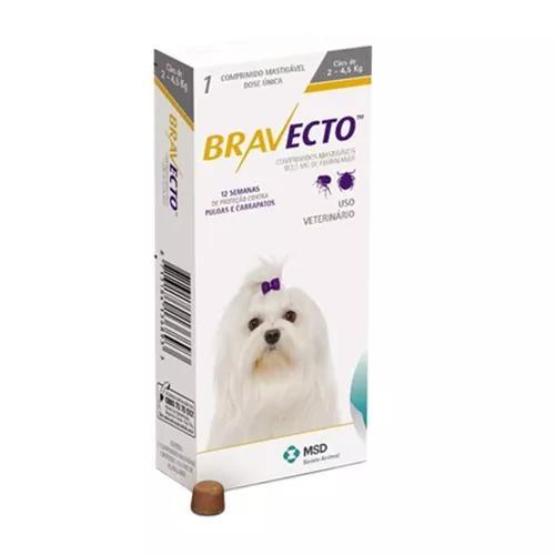 Antipulgas bravecto p/ cães de 2 a 4,5 kg 10/2019