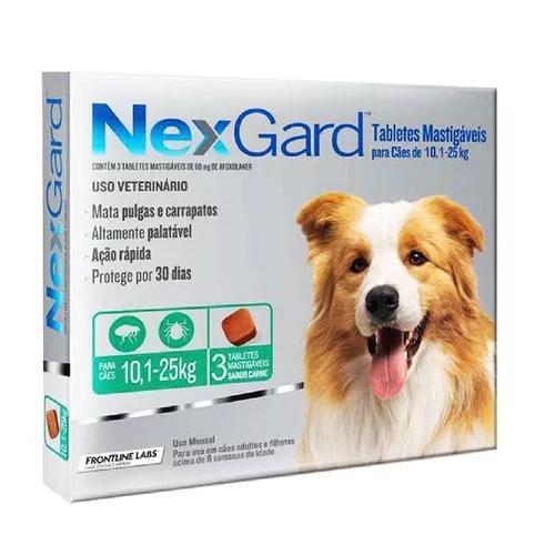 Antipulgas E Carrapatos Nexgard 10 A 25kg(caixa C/ 3 Tabl)