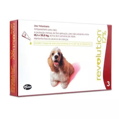 Antipulgas revolution 12% cães 10-20kg - 3 pipetas 03/2021
