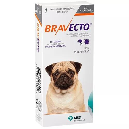Bravecto antipulgas 250mg cães de 4,5 a 10 kg