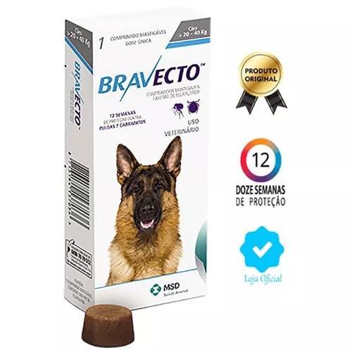 Bravecto antipulgas original msd para cães de 20 a 40 kg