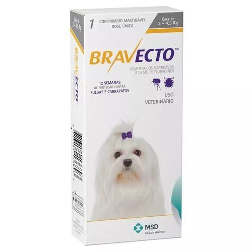 Bravecto msd cães até 4,5 kg - 112,5 mg - 09/2019