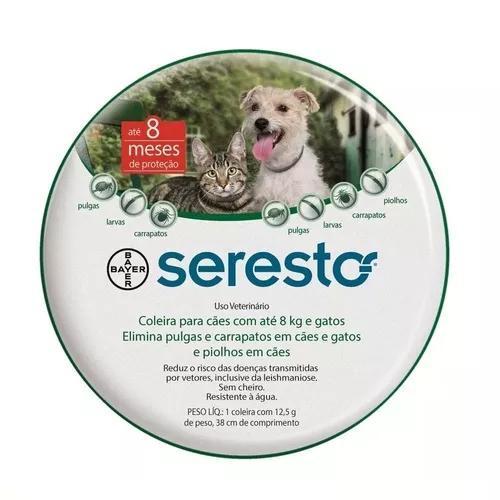 Coleira seresto p antipulgas bayer para cães e gatos até