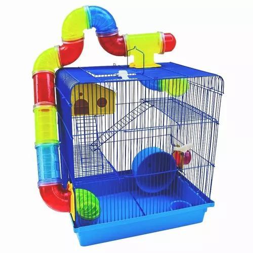 Gaiola de hamster anão russo chinês gerbil 3 andares azul