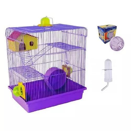 Gaiola hamster 3 andares + globo acrílico + frete grátis