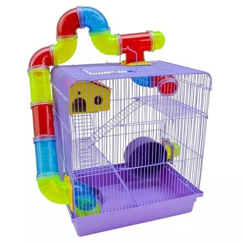 Gaiola hamster rato roedores 3 andares