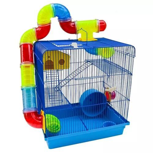 Gaiola hamster roedores 3 andares play ground com bebedouro