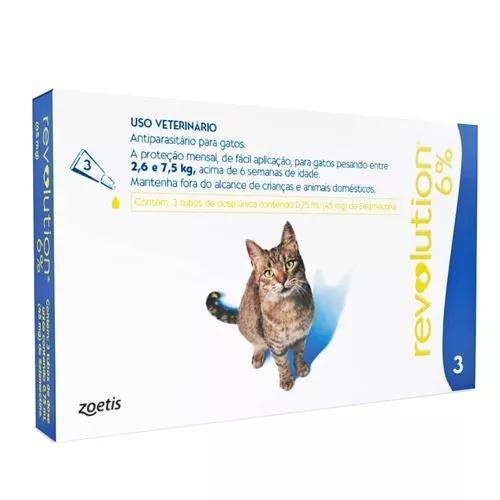 Revolution 6% para gatos de 2,6 a 7,5kg - com 3 pipetas
