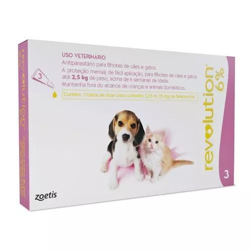 Revolution combo 6% cães gatos até 2,5kg - 3 pipetas -