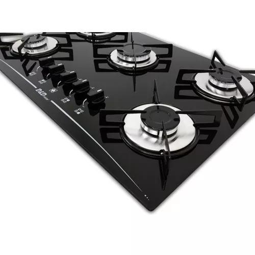 Fogão cooktop 5 bocas mega chama preto *acendi. automatico