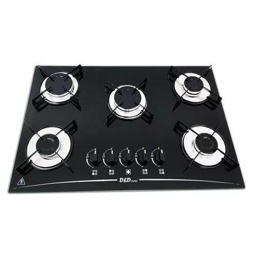 Fogão cooktop 5 bocas preto *com 2 queimadores grande