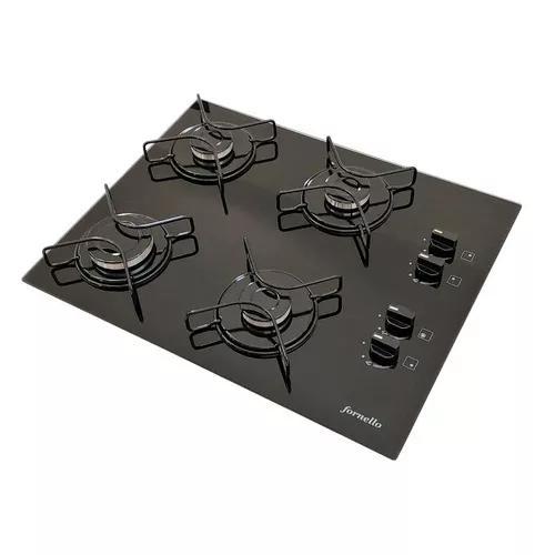 Fogão cooktop fornello 4 bocas preto