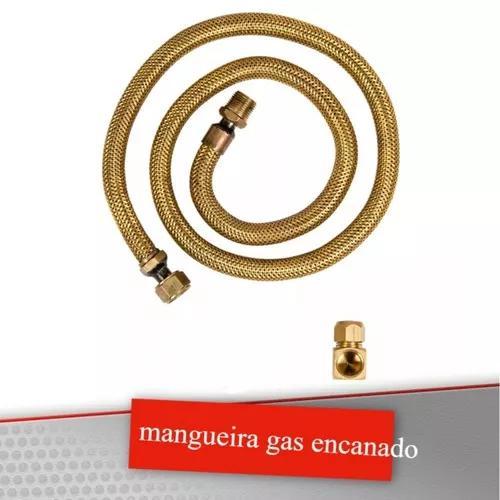 Kit mangueira 60cm + adaptador p fogao gas encanado flexivel