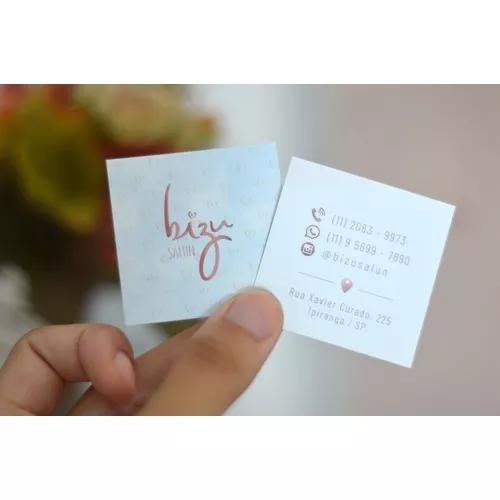 Cartão de visita quadrado (arte + impressão 250 unidades)