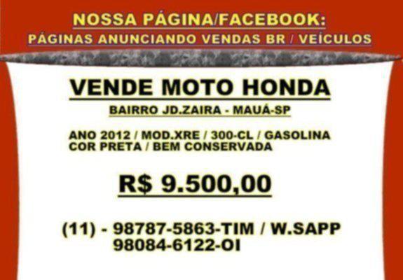 Vende moto honda / ano 2012 - mauá-sp