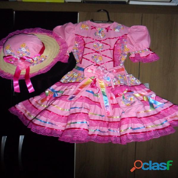 Vestidos juninos :vestido,armação,calçola,bolsinha,luvas de dedo,chapeus docorado,mini chapeu na tic