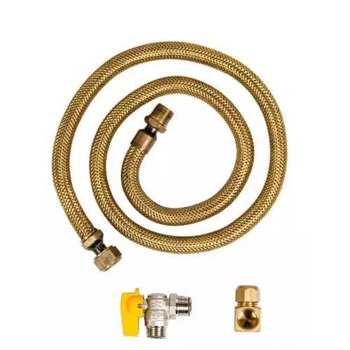 Kit mangueira 60cm + registro e adaptador fogao gas encanado