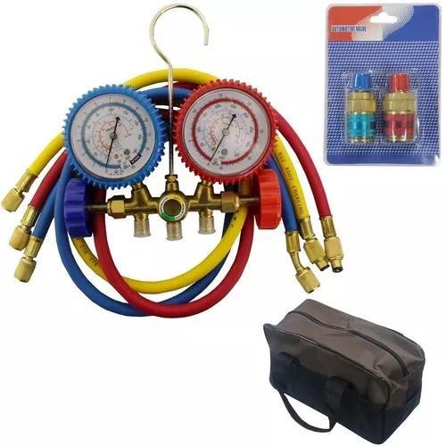 Manifold ar condicionado automotivo c/ engates r134/r22/r404