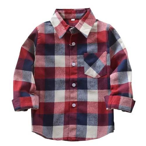 Camisa xadrez infantil criança menino 3 cores tam 6 ao 10