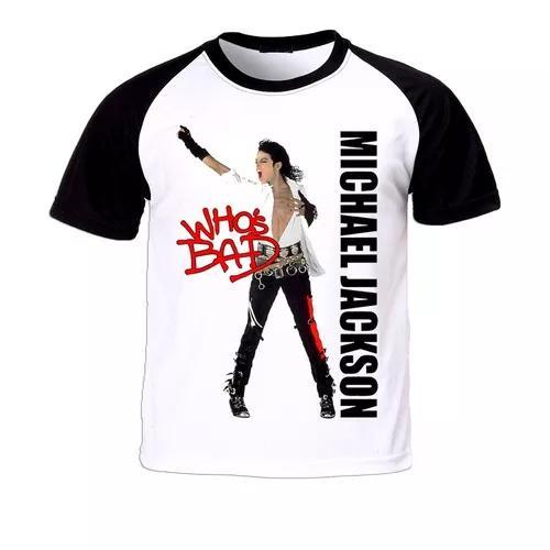 Camiseta raglan michael jackson infantil criança