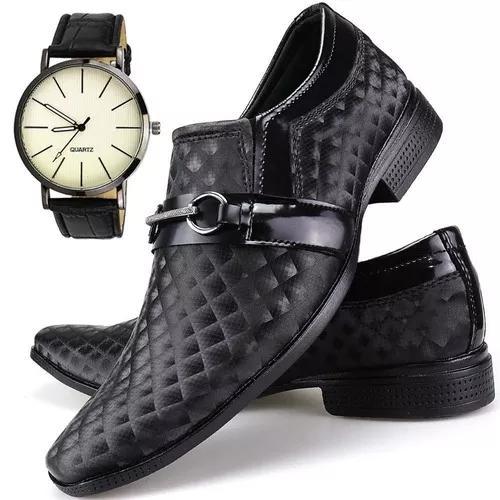Kit sapato social casual masculin verniz com relógio quartz