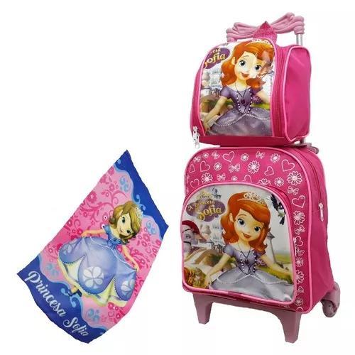 Mochila bolsa escolar sofia rodinhas kit crianças carrinho