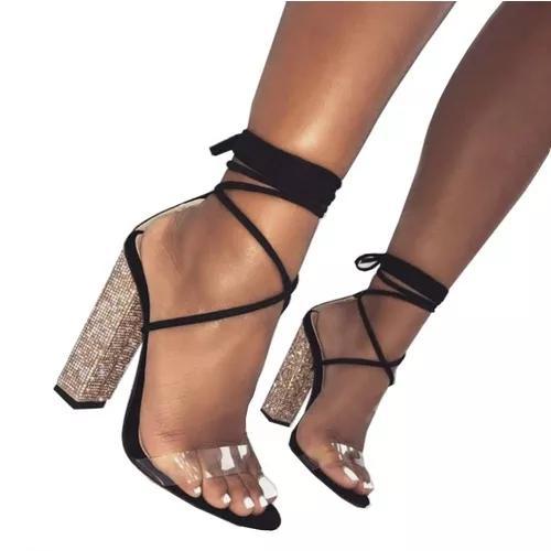 Sandália salto grosso dourada rose gold - envio 7 dias