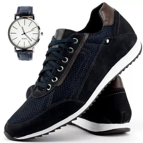 Sapatenis couro legitimo masculino + relógio original dhl