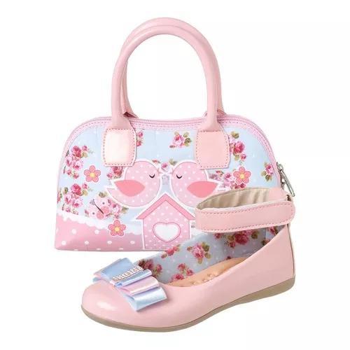 Sapatilha infantil menina com bolsa jardim encantado