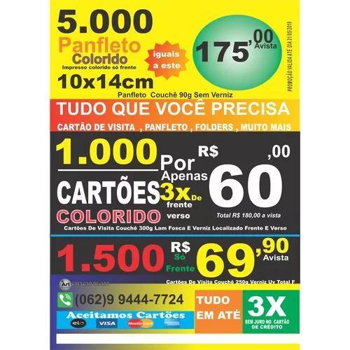 5.000 panfletos 10x14 90g só frente colorido e verso branco