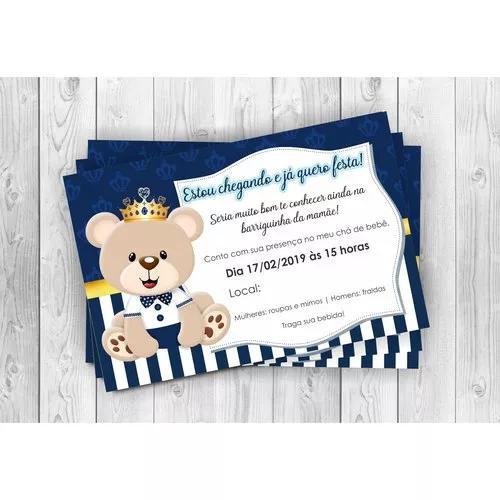 Convite digital urso - chá de bebê ou aniversário