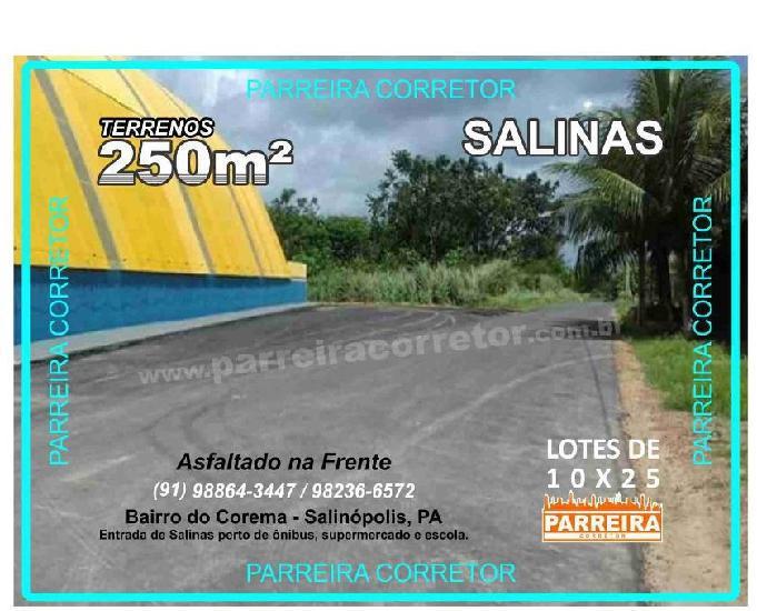 Terreno salinas, terrenos, lotes em salinas, tamnho 10x25
