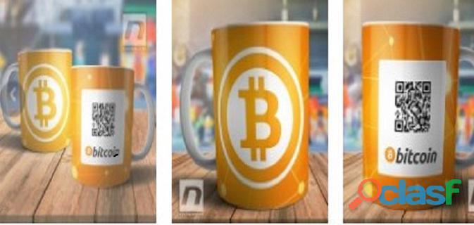 Caneca bitcoin com qr code