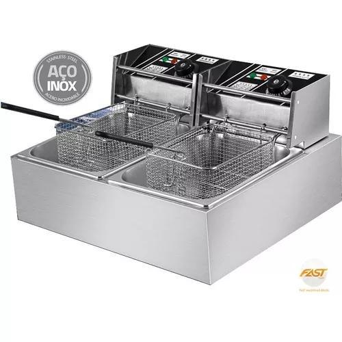 Fritadeira elétrica 2 cubas 110v inox 10lts c/ tampas