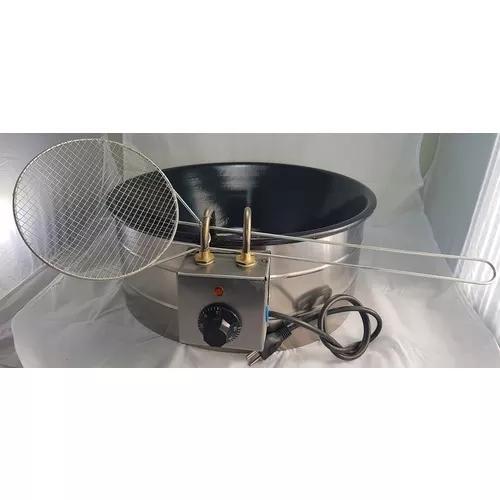 Fritadeira elétrica 7 litros esmalte preto escumadeira 110v
