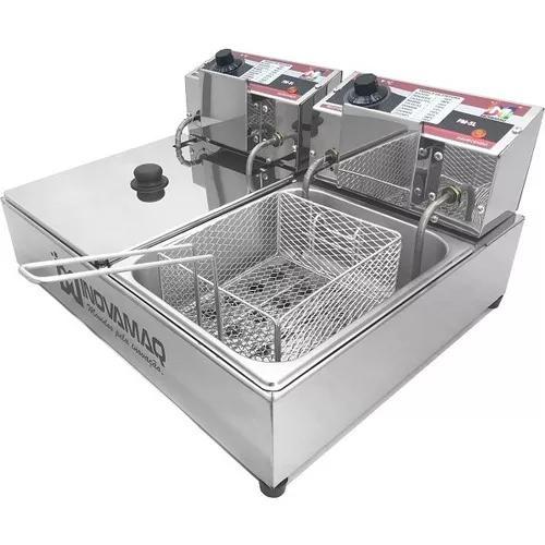 Fritadeira elétrica profissional 2 cubas - com tampa - 220v
