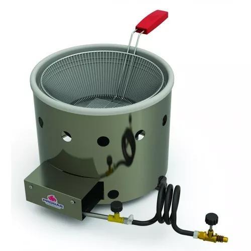 Fritadeira salgado a gas tacho 3 lts aço inoxidável profis