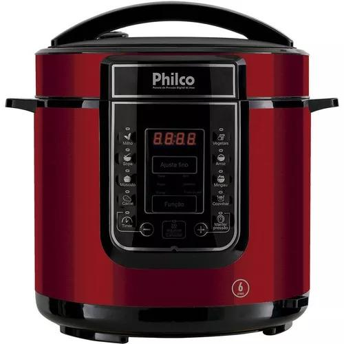 Panela de pressão elétrica philco digital 6l vermelha 110v