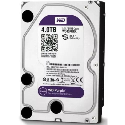 Hd western digital 4tb (4000mb) purple (vigilância) 4 tb