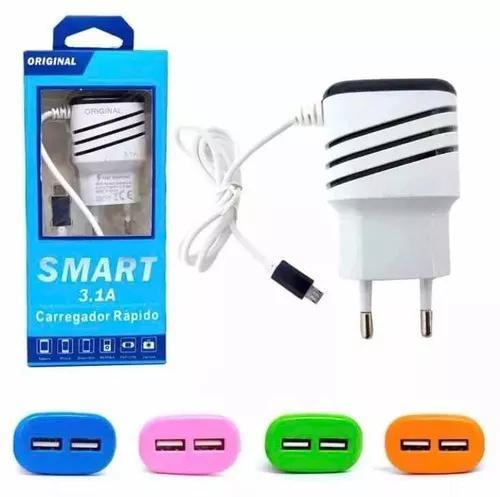 Carregador smart3.1a original 2 entrada usb 10 peças
