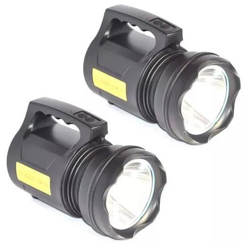 2 lanterna holofote led t6 lumens tatica recarregável 30w