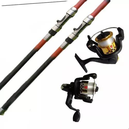 2 vara de pesca 2,70 mts 24 lbs fibra de carbono molinete