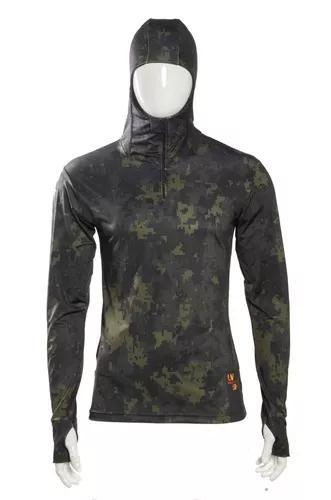 Camisa de pesca camuflada com capuz proteção uv 50+
