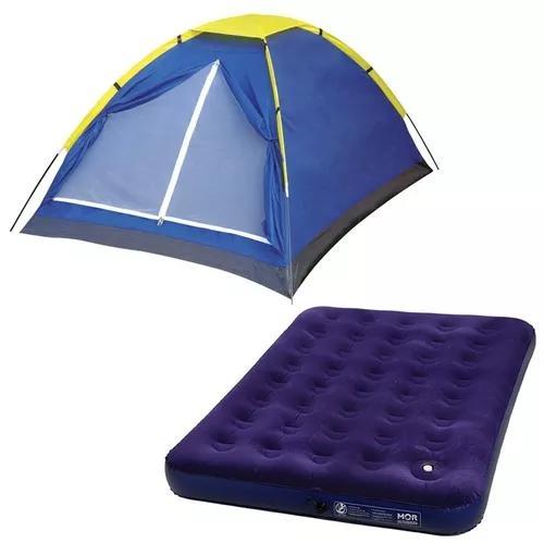 Kit barraca iglu 3 pessoas + colchão inflável casal - mor
