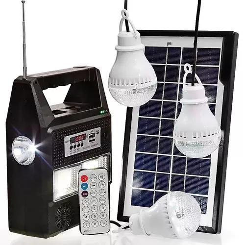 Kit camping bateria portátil placa solar 3 lâmpadas led