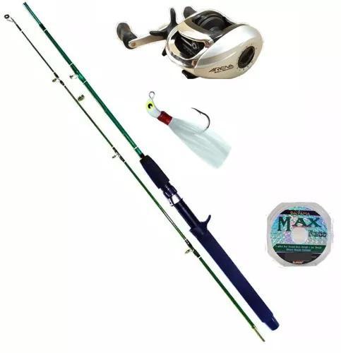 Kit de pesca carretilha arena + vara + linha + brinde
