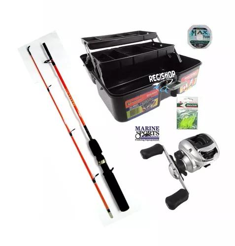 Kit pesca maleta vara carretilha arena isca linha completo